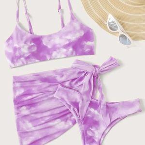 💜NWT Purple Tie Dye Three Piece Bikini Set💜